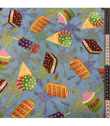 Mønstret bomull med is og cupcakes