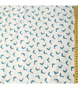 Mønstret Bomull - 386-TurkisBlå